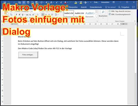 Word Vorlage Mit Makros Word Makro Fotos Einf 252 Mit Auswahl Dialog Mit Word Datei Programmierer Office 365
