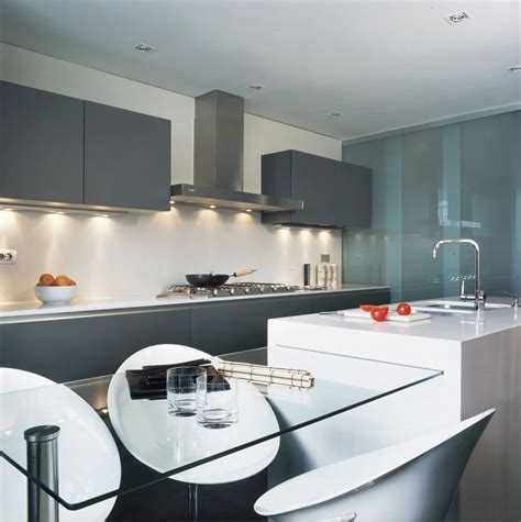 Modern Kitchen Cabinet Design Kitchen Modern Grey Cabinets Glass Dining Table White Kitchen Counters Contemporary Kitchen