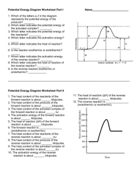 potential energy diagram worksheet energy and thermo ws ap