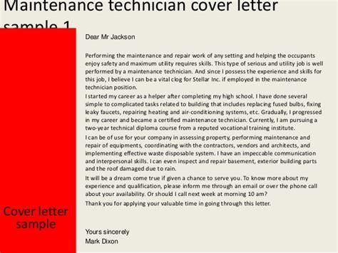 cover letter for maintenance technician maintenance technician cover letter