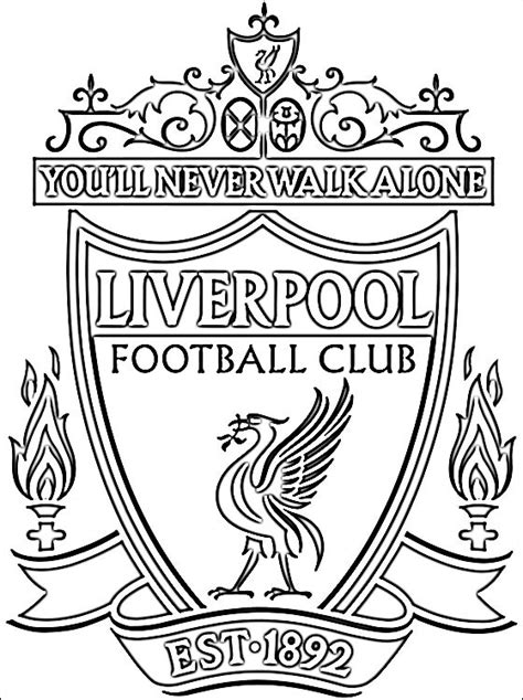 coloring pages of football logos of teams liverpool football club coloring page coloring pages