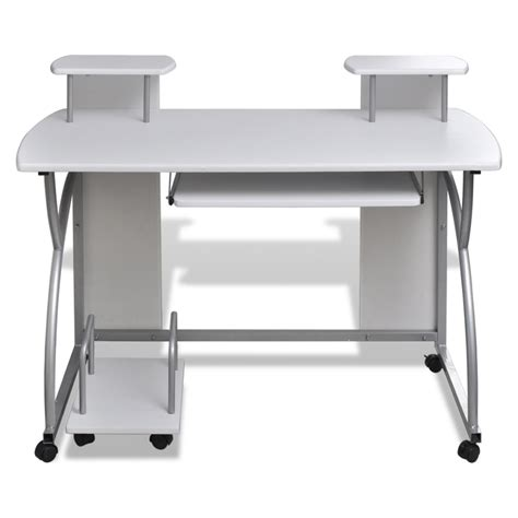 pull out computer desk mobile computer desk pull out tray white finish furniture