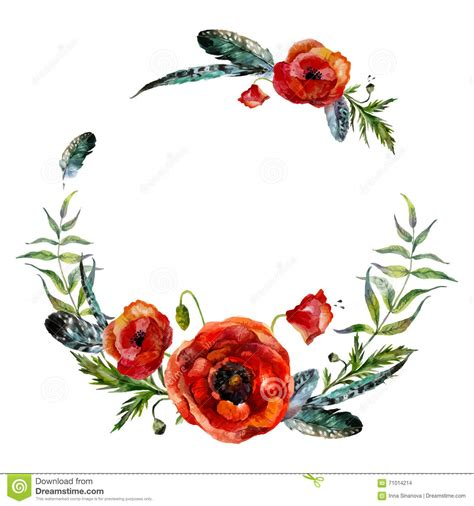 watercolor floral wreath stock vector illustration of