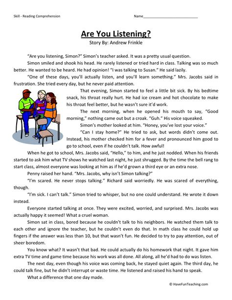 Listening Comprehension Worksheets by Reading Comprehension Worksheet Are You Listening
