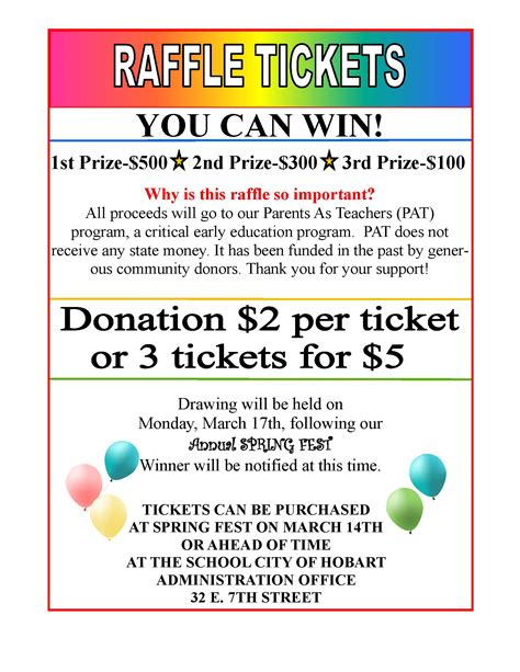 spring fest raffle tickets available now