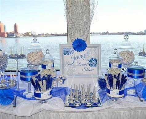 bridal shower candy buffet royal blue candy bars