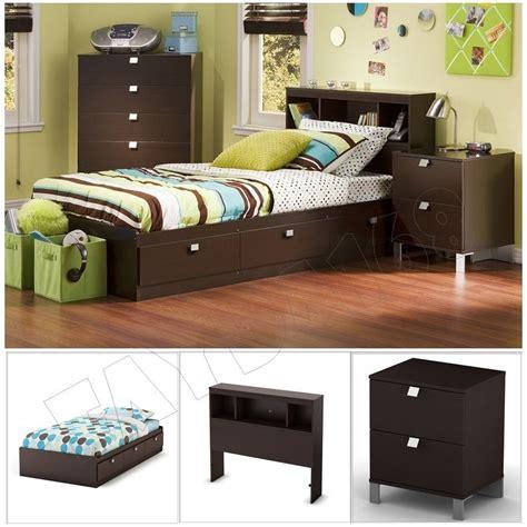 piece chocolate modern bedroom furniture collection twin size platform bed set ebay