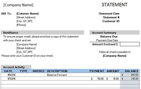 statement of account sle template free accounting templates in excel