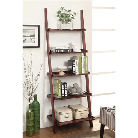 leaning ladder 5 shelf bookcase espresso mainstays leaning ladder 5 shelf bookcase espresso walmart