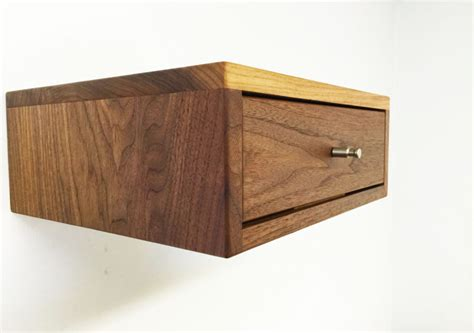 Floating Drawer Nightstand The Acidcube A Floating Nightstand Solid Walnut By Monkehaus Floating Nightstand In Nightstand