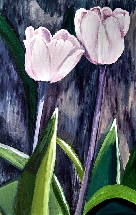 contoh gambar lukisan bunga tulip simpel  indah