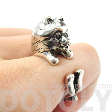 pomeranian jewelry realistic pomeranian shaped animal wrap ring in shiny silver size 4 to 8 5 183 dotoly