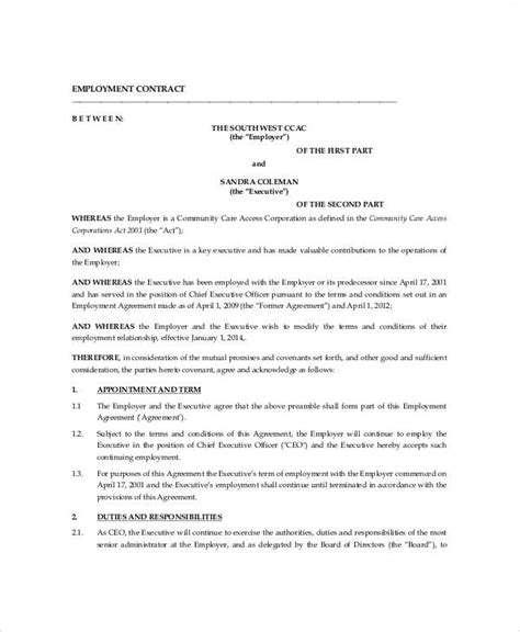 ceo contract template executive employment contract sle 9 exles in word