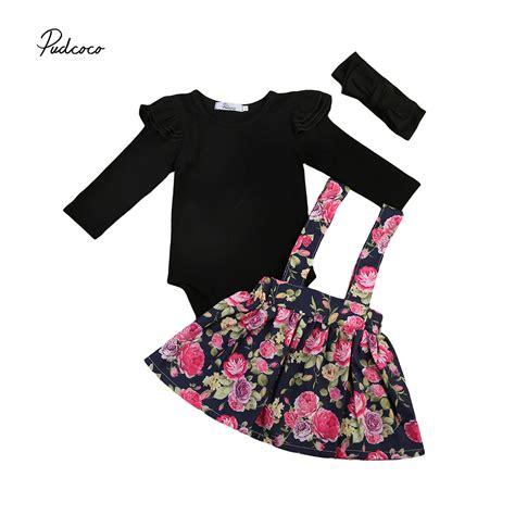 Floral Overall Set 1 adorable baby clothes set 3pcs 0 24m infant black sleeve romper floral skirt