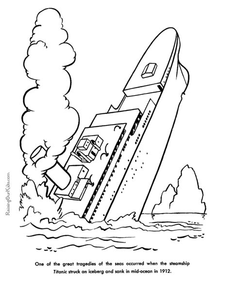 Sinking Of The Steamship Titanic American History For American History Coloring Pages