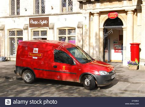 royal mail vauxhall parked in front of post
