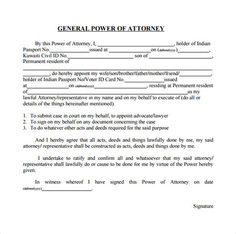 general power of attorney template general power of attorney forms 6 free sles