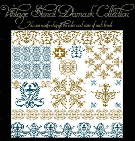 damask pattern brush vintage stencil damask brush set brushes on creative market