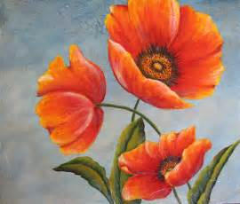 Van Gogh Flowers In A Blue Vase Three Poppies An Original Acrylic Painting
