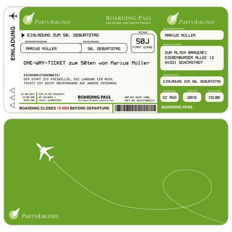 Muster Lustige Einladung Einladungskarten Zum Geburtstag Als Flugticket Hellgr 252 N