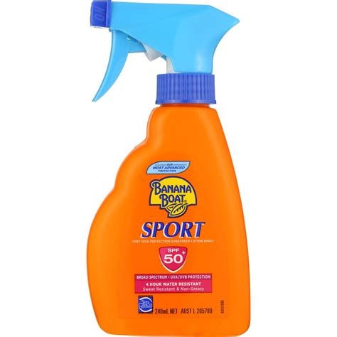 banana boat sunscreen woolworths banana boat spf 50 sunscreen sport spray 240ml woolworths