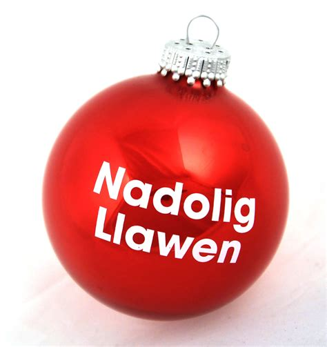 welsh christmas red bauble nadolig llawen happy christmas pink cat shop