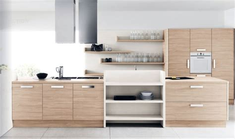 modern white oak kitchen furniture set interior design ideas