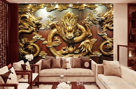 custom  wallpaper wood carving dragon photo wallpaper chinese style wall murals art room decor