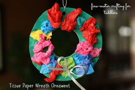 tissue paper wreath ornaments for kids happy hooligans