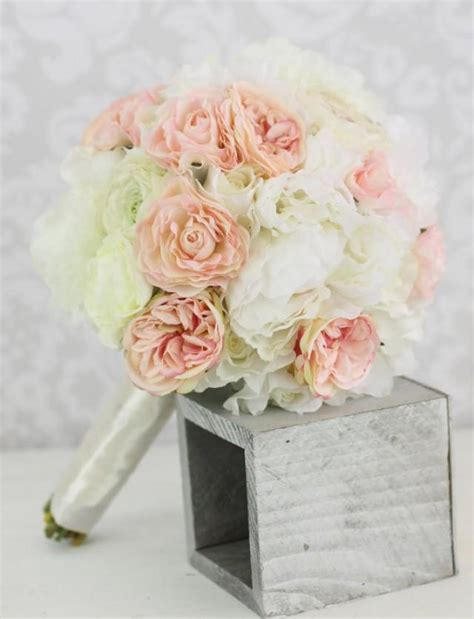 silk bride bouquet peony flowers pink cream spring mix