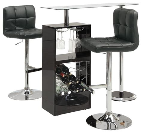 glass top bar table set coaster fine furniture glass top stemware storage wine rack bar table and stools 3