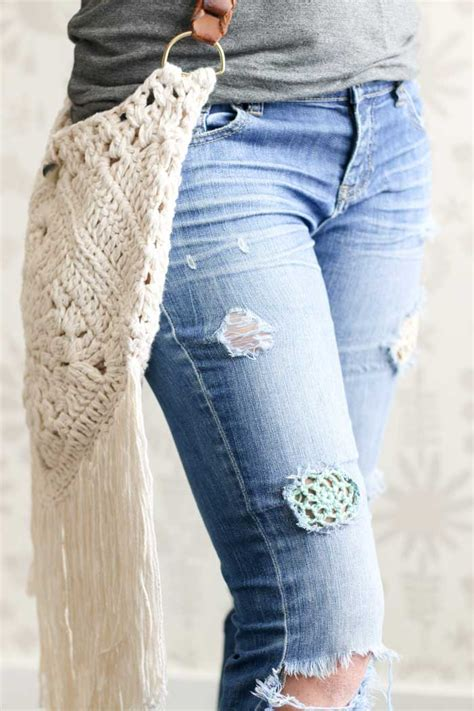 pattern in jeans how to patch jeans with crochet lace make do crew