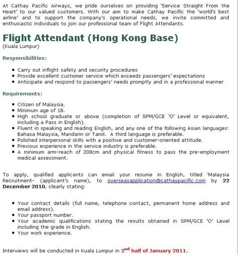 Cathay Pacific Cabin Crew Hiring Philippines by Fly Gosh Flight Attendant Cathay Pacific Hong Kong Base