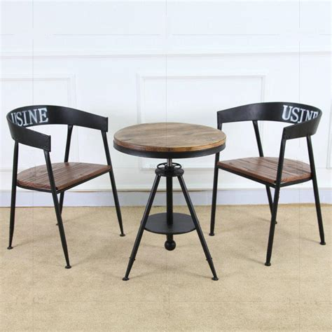 tea table and chairs bao creative hair retro wood coffee table tea table iron