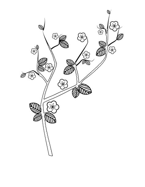 japanese cherry tree coloring page japanese cherry blossom tree coloring coloring pages