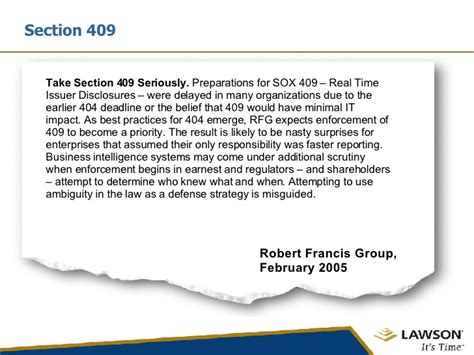 sox section 409 corporate compliance