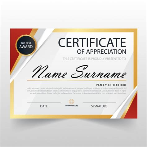 modern certificate of appreciation template vector free