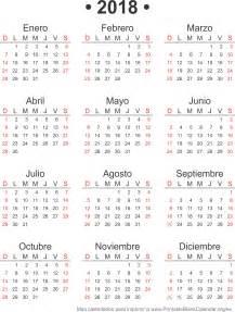Calendario 2018 Mexico Para Imprimir 2018 Calendarios Anuales Para Imprimir Calendarios Para