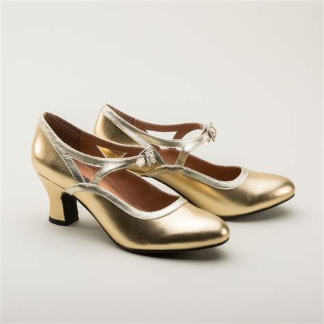 Gold Shoes by 1920s Flapper Shoes In Gold By Royal Vintage