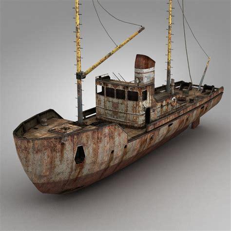 3d boat rusty fishing boat 3d model