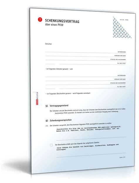 Kaufvertrag Auto Lieferverzug by Schenkungsvertrag Auto Muster Als Pdf Doc Zum Download
