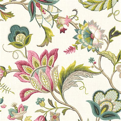 Upholstery Fabric Floral pink blue jacobean floral linen fabric traditional upholstery fabric by loom decor