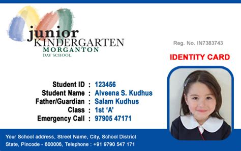 kindergarten school id card photoshop template id cards