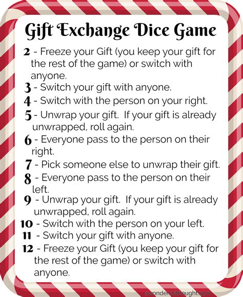 christmas pass the gift game gift exchange dice awonderfulthought a wonderful thought