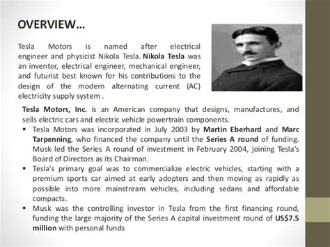 Tesla Motors Company Overview Tesla Motors Presentation