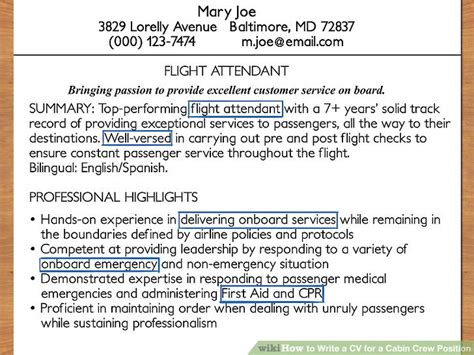 description of cabin crew how to write a cv for a cabin crew position with pictures