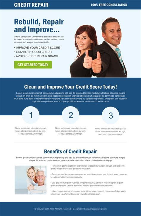 Click Through Rate Landing Page Designs To Boost Yours Sales Credit Repair Landing Page Template