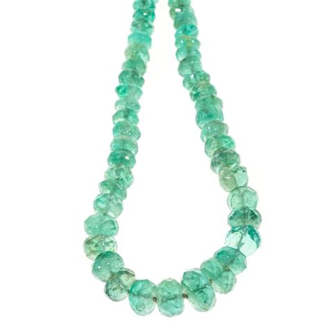 green beaded necklace green emerald graduated bead gold necklace at 1stdibs