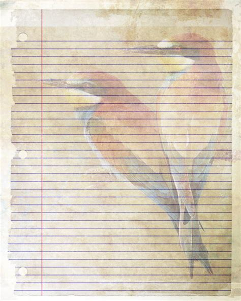 beautiful writing paper printable journal page bird writing lined stationery 8 x 10