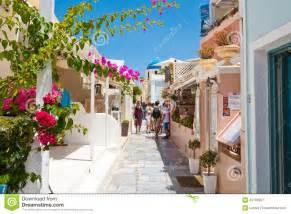 Mediterranean Style Restaurant - santorini oia july 28 shopping street on july 28 2014 in oia town on santorini greece